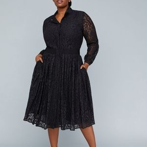 GIRL WITH CURVES PLEATED LACE DRESS